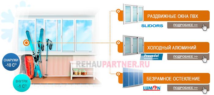 Холодное остекление балконов и лоджий 11-12 кв м