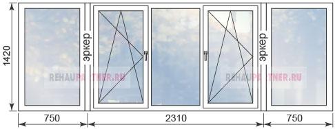 Цены на пластиковые окна для эркера в домах П44Т